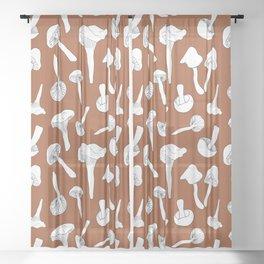 Wild Mushroom Toss in Rust Sheer Curtain