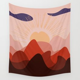 Giant peach in the red mountains Wall Tapestry