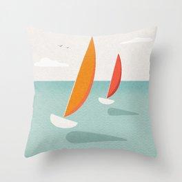 Vintage style minimalist travel poster of sleek yachts on a summer sea Throw Pillow