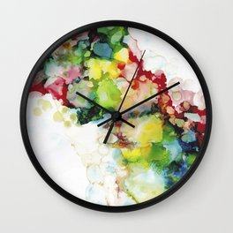 Abstract ink ethereal painting colorful watercolors Wall Clock