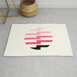 Minimalist Mid Century Circle Frame Pink Zig Zag Colorful Lightning Bolt Geometric Pattern Rug