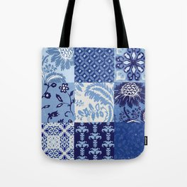 Blue and White Patchwork Squares Tote Bag
