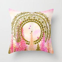 Golden Mandala and Sunset Forest-Pink  Throw Pillow