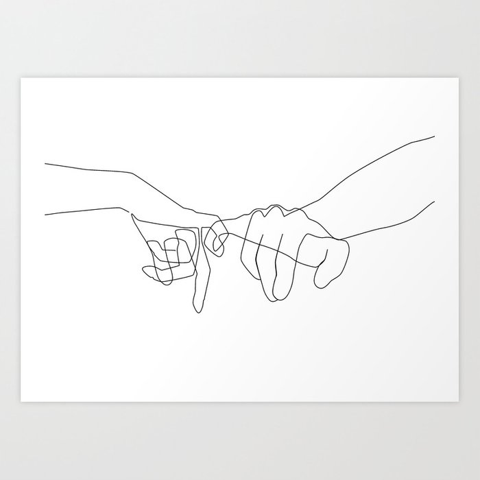 Line Art Poster Design : Pinky swear art print by explicitdesign society