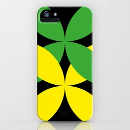 Green Yellow four-leaf clover in a strong deep dark black sky. They are hugging.They love each other iPhone Case