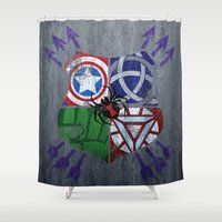 avenger Shower Curtains featuring Crest of an Avenger by Andi Robinson
