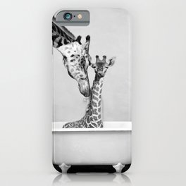 Bathitude - Mother & Baby Giraffe in a Vintage Bathtub (bw) iPhone Case