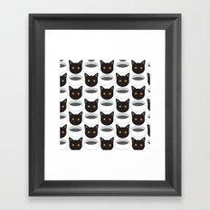 Cat Face & Bowl Framed Art Print