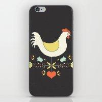 folk iPhone & iPod Skins featuring Folk Chicken by Jenny Tiffany