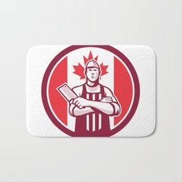 Canadian Butcher Front Canada Flag Icon Bath Mat