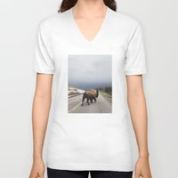 wall clock V-neck T-shirts featuring Street Walker by Kevin Russ