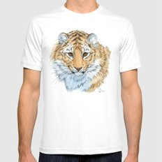 Young Sweet Tiger MEDIUM White Mens Fitted Tee