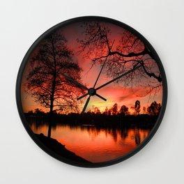 Sunset Lake. © J. Montague. Wall Clock