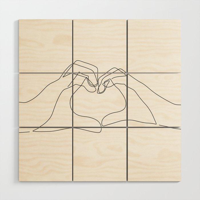 Hand Heart Wood Wall Art