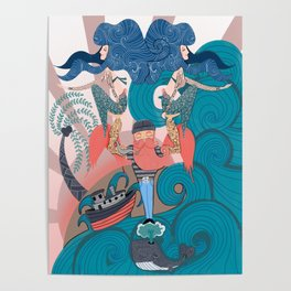 Nautical Strong Man and Sirens of the Sea Poster