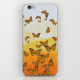 Monarch Butterflies on Watercolor Ombre Background iPhone Skin