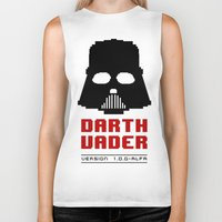 8 bit Biker Tanks featuring 8-bit Darth Vader by Sylwia Borkowska