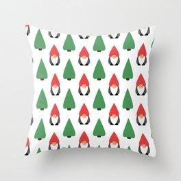 Christmas Gnomes & Trees Throw Pillow