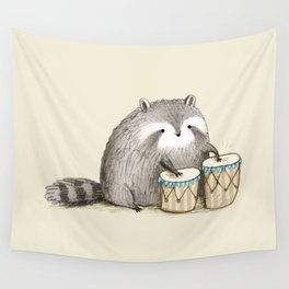 Raccoon on Bongos Wall Tapestry