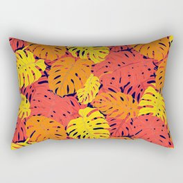 Modern tropical summer yellow orange red cheese leaves floral Rectangular Pillow
