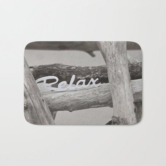 Relax driftwood summer beach Bath Mat