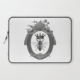 Queen Bee | Vintage Bee with Crown | Black, White and Grey | Laptop Sleeve