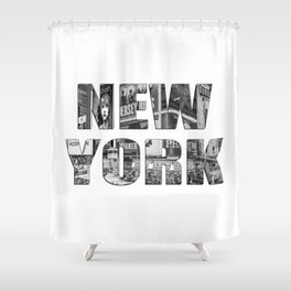 New York  B&W typography Shower Curtain