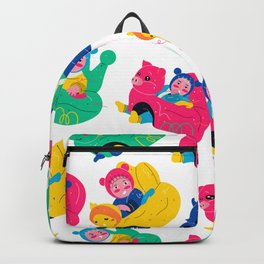 Cute kids are sitting on the animal safe chairs illustration, repeat seamless pattern design Backpack