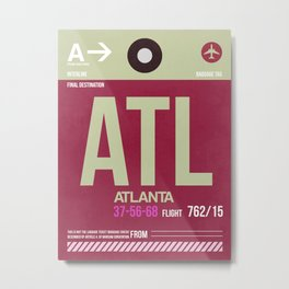 ATL Atlanta Luggage Tag 2 Metal Print
