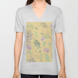 Simple and stylized flowers 3 Unisex V-Neck