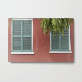 New Orleans Teal Shutters Metal Print