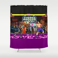 boxing Shower Curtains featuring Boxing Legends: Money vs Pacman by Akyanyme