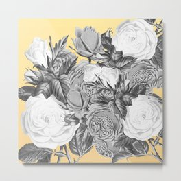 Floral Rose Black and White on Lemon Yellow Metal Print