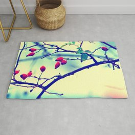 Rosehips with water beads Rug