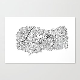 Love Line Drawing Canvas Print