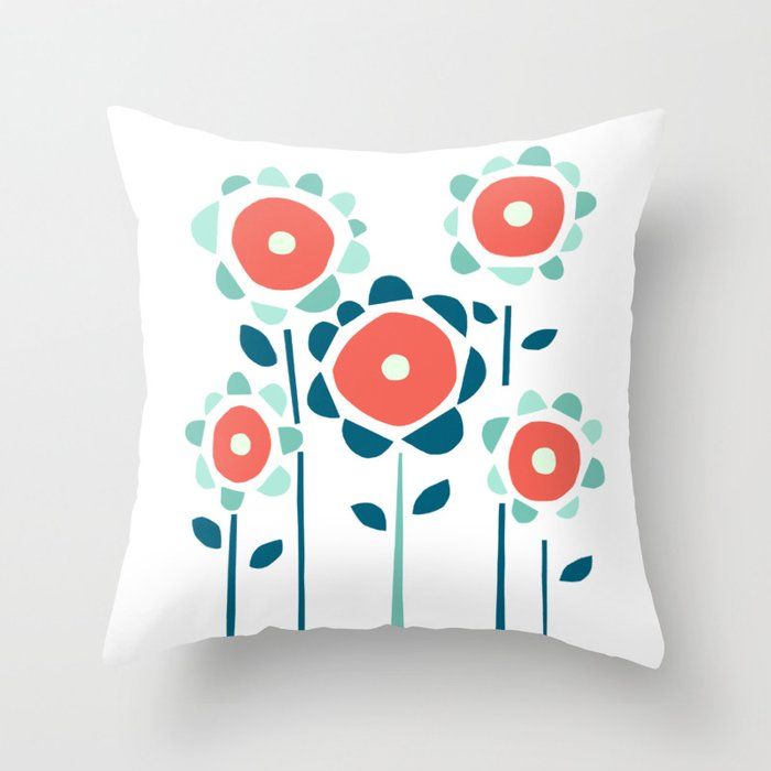Coral and Aqua Garden of Flowers Throw Pillow