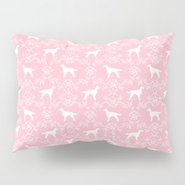 Irish Setter floral dog breed silhouette minimal pattern pink and white dogs silhouettes Pillow Sham
