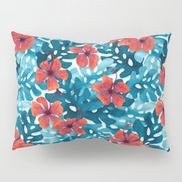 Tropical Hibiscus Pattern Red Pillow Sham