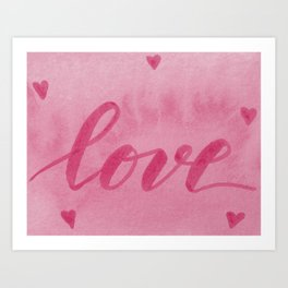 Valentine's Day Watercolor Love – pink Art Print