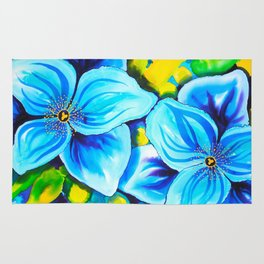 Blue Poppies 3 with Border Rug