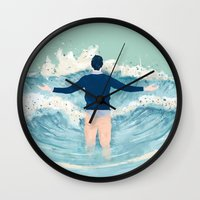 mad men Wall Clocks featuring Mad Men by lazy albino