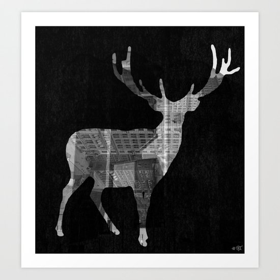 Deer City Collage 2 Art Print