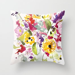 Jim Dandy Farm Flowers Throw Pillow