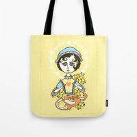 jane austen Tote Bags featuring Jane Austen Holy Writer by roberto lanznaster