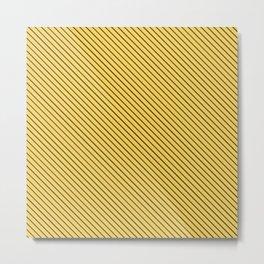 Primrose Yellow and Black Stripe Metal Print