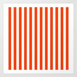 Orange Pop and White Vertical Cabana Tent Stripes Art Print