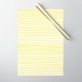 Yellow Striped Handmade Dancing lines Wrapping Paper