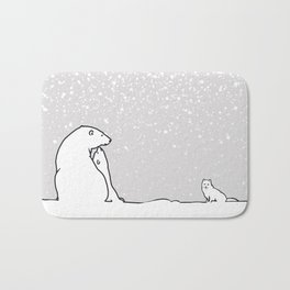 Art print: The polar bear family and the arctic fox Bath Mat