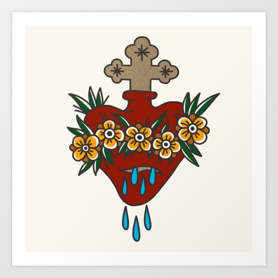Sacred Heart with Flowers by holyrosaryclub