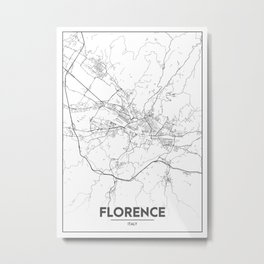 Minimal City Maps - Map Of Florence, Italy. Metal Print